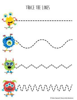 fine motor monster tracing lines preschool pre writing preschool motor skills preschool. Black Bedroom Furniture Sets. Home Design Ideas