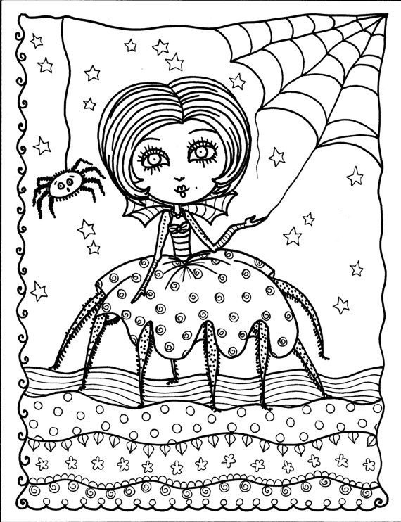 5 pages Instant Download Halloween Coloring pages 5 different ...
