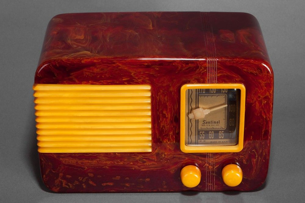 Catalin Sentinel 248NR Radio in Oxblood Red with Yellow Trim