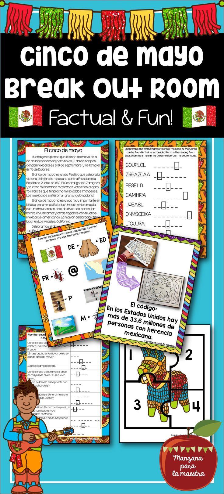 Distance Learning Cinco de Mayo Spanish Editable Break out ...