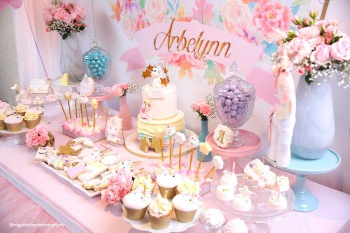 Dessert Spread From A Baby Unicorn 1st Birthday Party On Karas Ideas