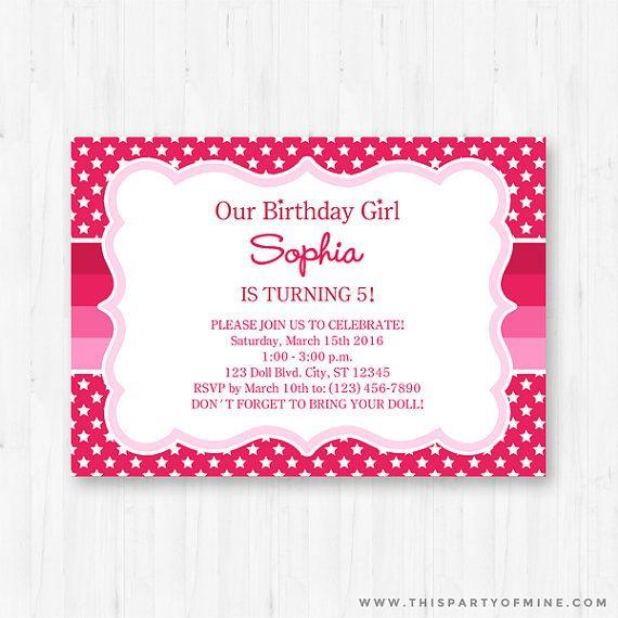 American Girl Invitation Printable Invite Doll Party Instant