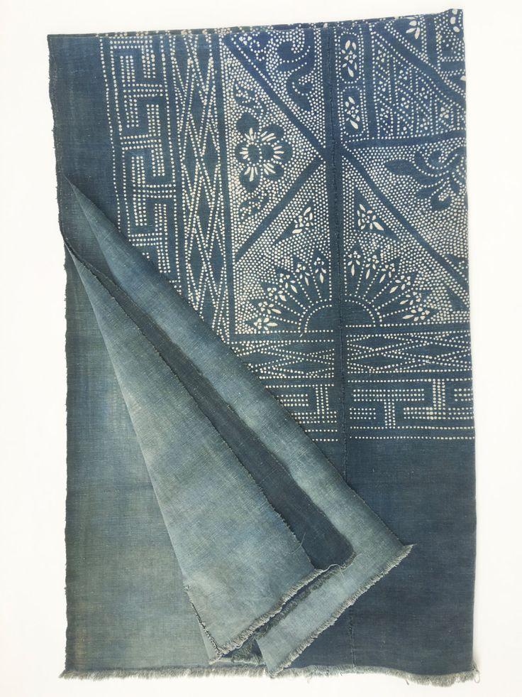 RESERVED:Asian Indigo Batik Fabric, Vintage Chinese Batik Bedcover, Boho Decor, Large 83 inch... RESERVED:Asian Indigo Batik Fabric, Vintage Chinese Batik Bedcover, Boho Decor, Large 83 inches x 52 inches,