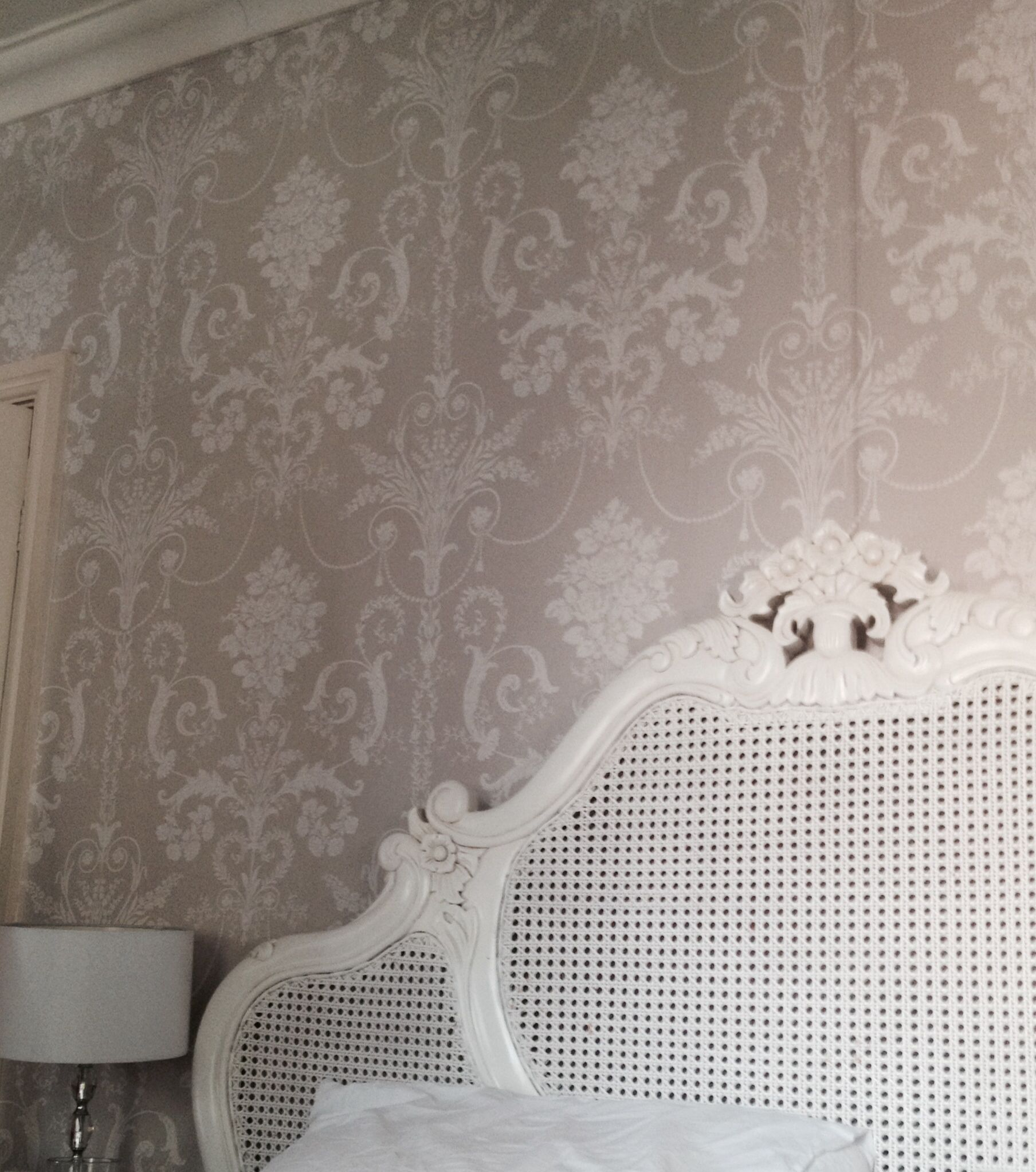 my bedroom grey laura ashley wallpaper and white rattan