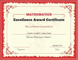 Mathematics Excellence Award Certificate Template For MS Word DOWNLOAD At  Http://certificatesinn.  Excellence Award Certificate Template