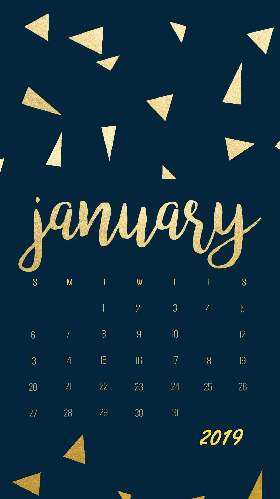 Golden Stones January 2019 Iphone Calendar Calendar