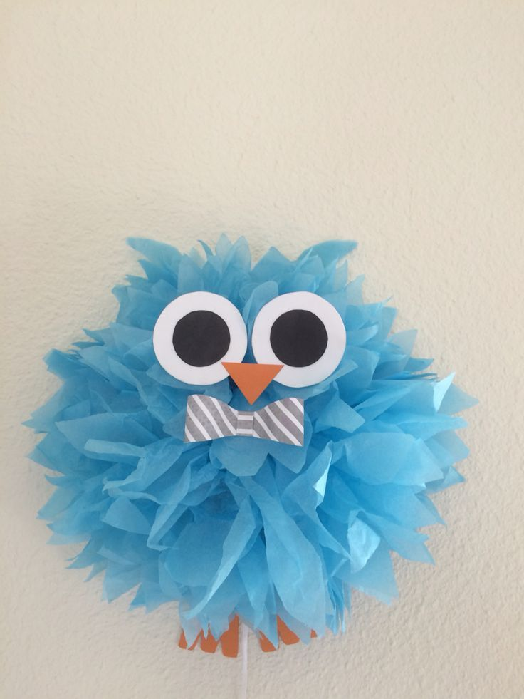 Owl Themed Baby Shower Made This Owl Out Of Tissue Paper Pom Pom