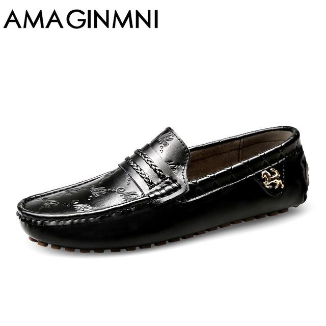 3dd676bfcb65 AMAGINMNI Brand Summer spring Breathable Genuine Leather Flats Loafers Men  Casual shoes men Luxury Fashion Slip On Driving shoes