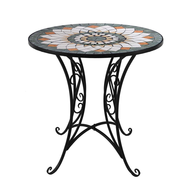 Mosaik Gartentisch Rund Mosaiktisch Beistelltisch Bistrotisch Balkontisch Eisen Keramik Gartentisch Mosaik Mosaiktisch Gartentisch