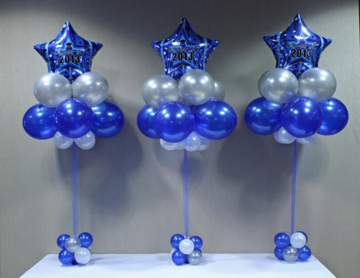 Image graduation celebration centerpiece globos for Balloon decoration ideas for graduation