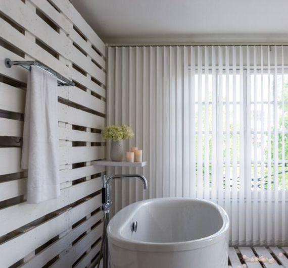 Coole Badezimmer Ideen Für Einrichtung Mit Paletten Im Bad_ Modernes Bad  Weiß Mit Bodenbelag Und Wand