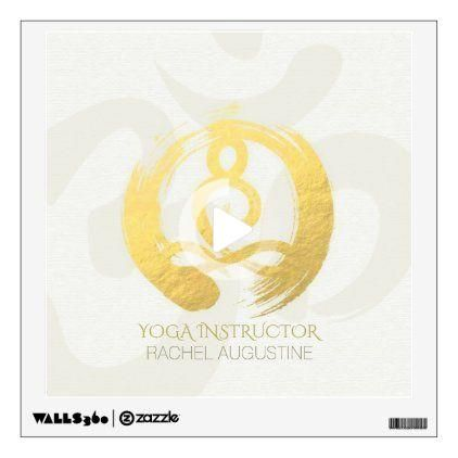 white gold calligraphy yoga meditation zen om sign wall