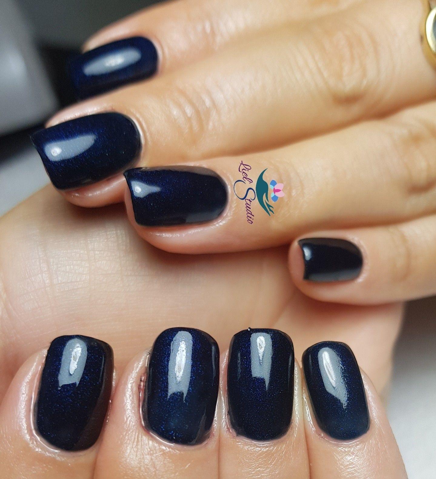 Liel\'Studio gel nail polish idea fall collection dark blue nativ ...