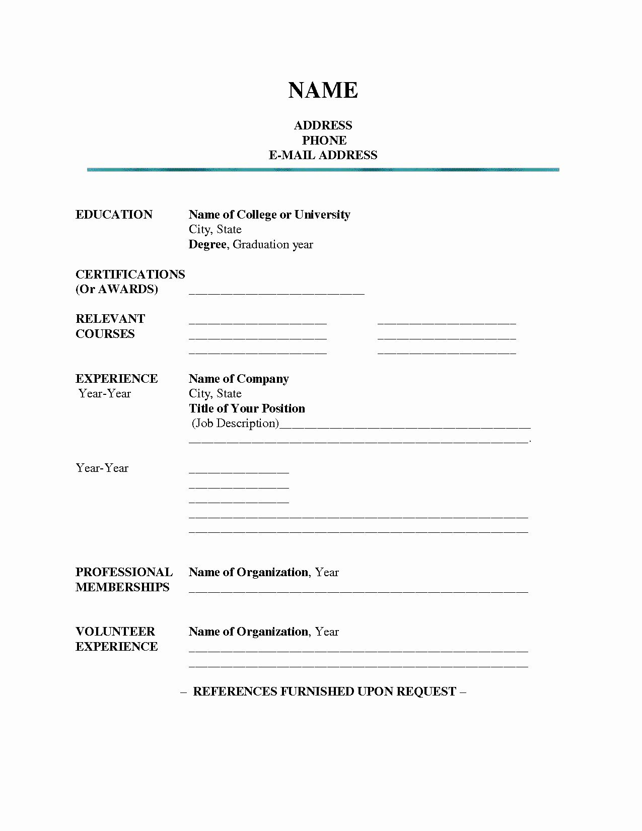 Blank Simple Resume Template Inspirational 7 8 Resume Blank Format Pdf In 2020 Job Resume Template Student Resume Template Free Printable Resume Templates