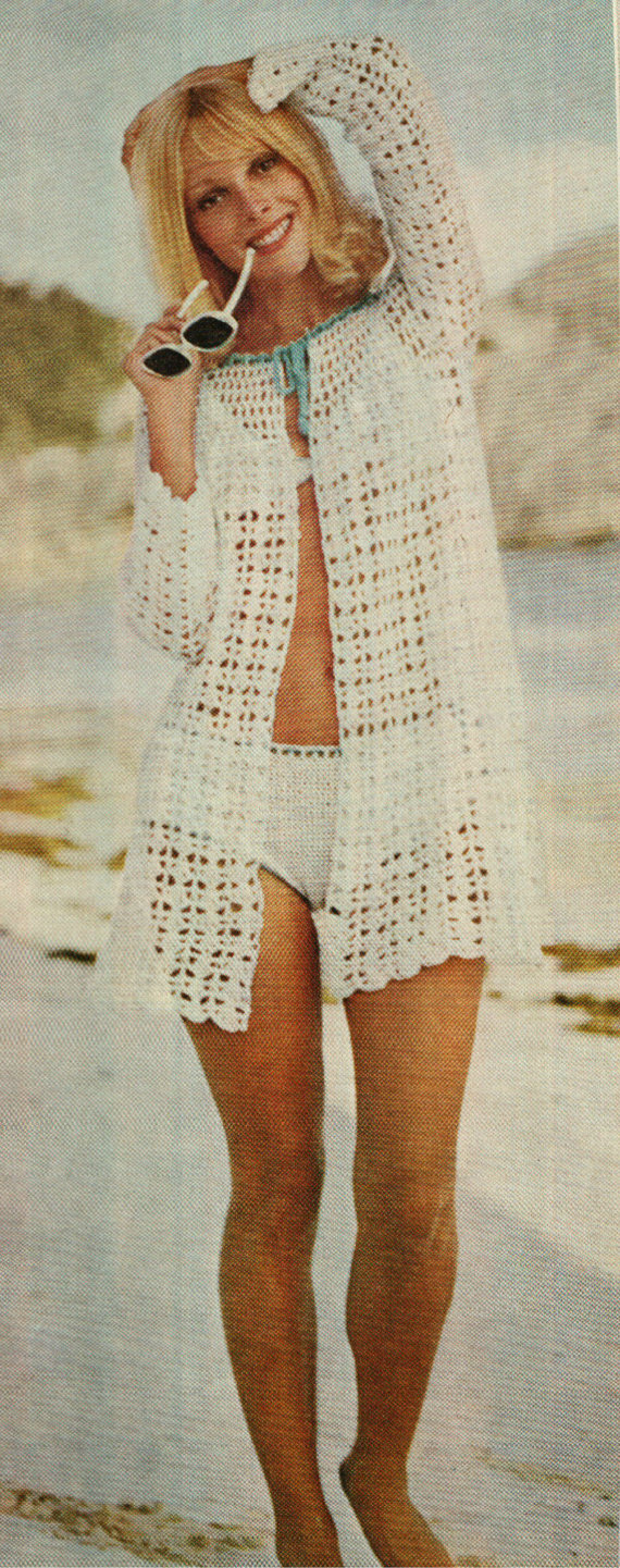 Crochet bikini cover up pattern vintage 60s beach cover jacket crochet bikini cover up pattern vintage 60s beach cover jacket bankloansurffo Images