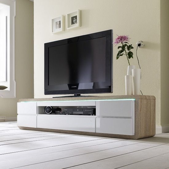 Frame Tv Stand In Oak And White Gloss And Led Modern Tv Units