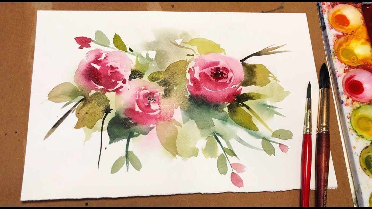 Watercolor Painting For Beginners Loose Rose Floral Real Time