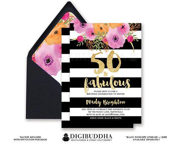 50 Fabulous Graphic: 50 & FABULOUS BIRTHDAY INVITATION Black And White Stripe