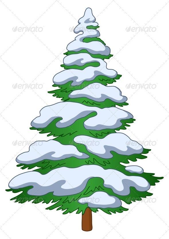 Christmas Tree With Snow Christmas Tree With Snow Fur Tree Snow Illustration