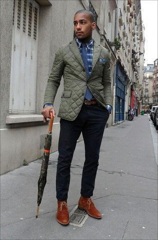 4b0221cb00671 Men's Tobacco Suede Desert Boots, Black Chinos, Olive Quilted Blazer, Navy  Tie, Blue Pocket Square, Navy Plaid Longsleeve Shirt, and Brown Leather Belt