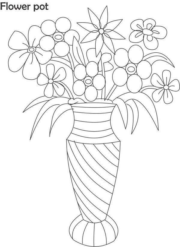 Flower Pot Coloring Pages Best Coloring Pages For Kids Flower Drawing Flower Coloring Pages Sun Coloring Pages
