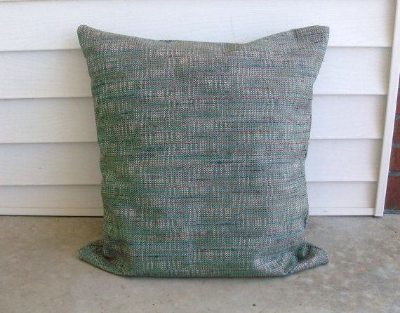 Teal Tweed with Multi Color Threads Pillow by lovelylovedesigns, $25.00