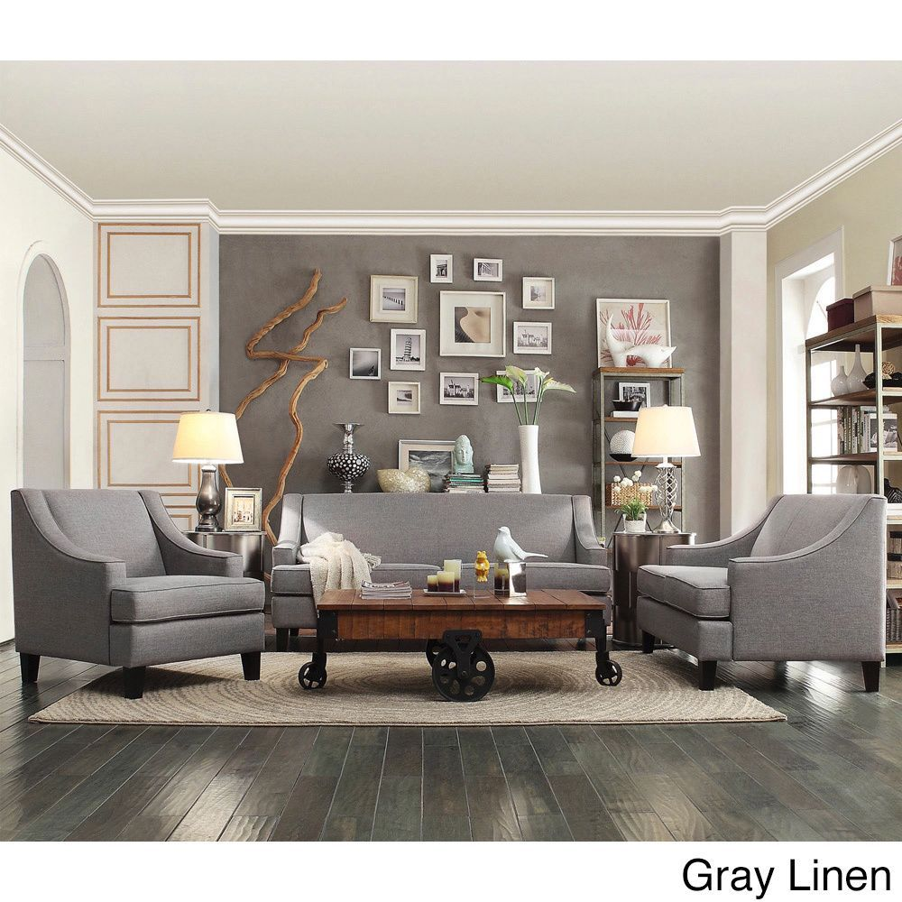 Winslow Concave Arm Modern 3-piece Living Room Set by Inspire Q (Gray Linen