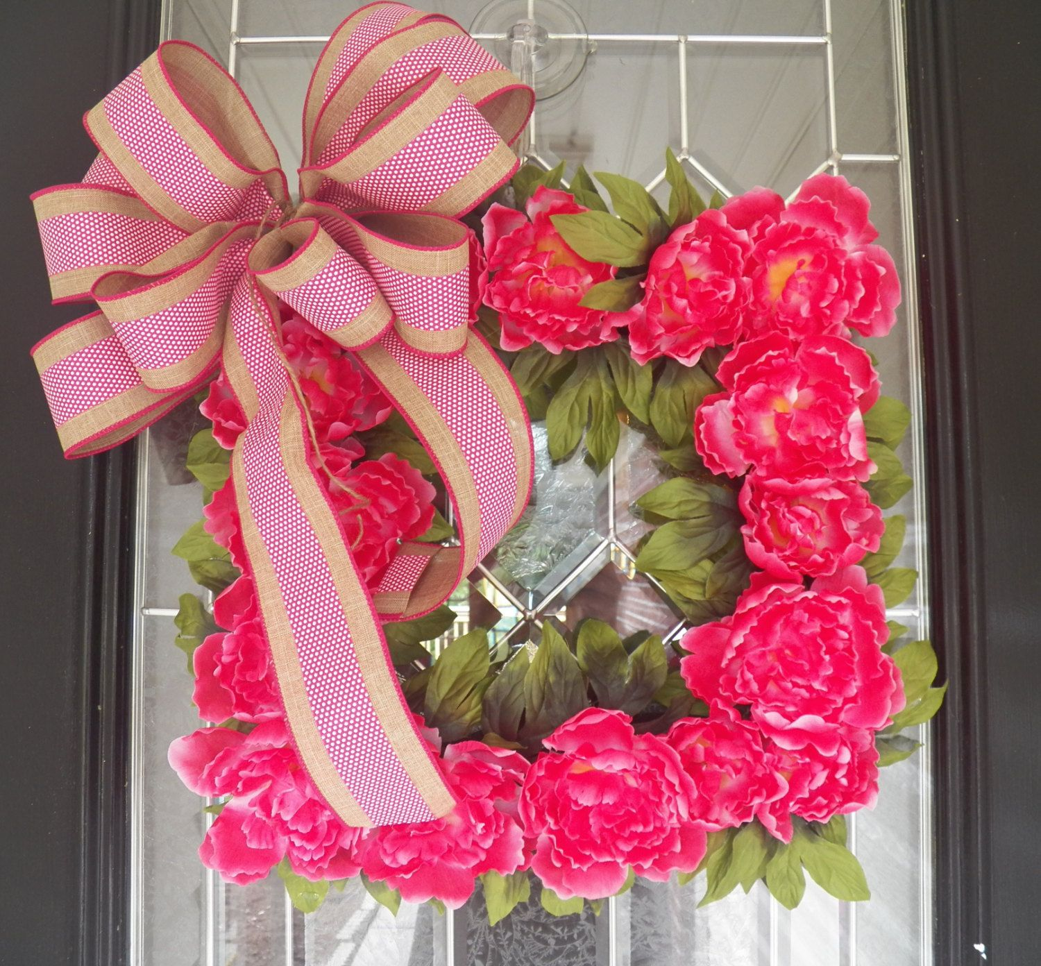 Peony Wreath, Square Wreath, Floral Wreath, Front Door Wreath, Wreath For  Door