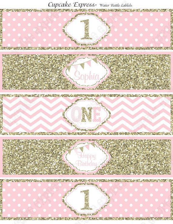One First Birthday girl coral pink gold PRINTABLE Water ...