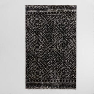 Gray Diamond Print Viscose And Wool Milano Area Rug