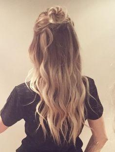 Half Up Half Down Buns Very Cute For All Hair Types Hair Styles Hair Beauty Long Hair Styles