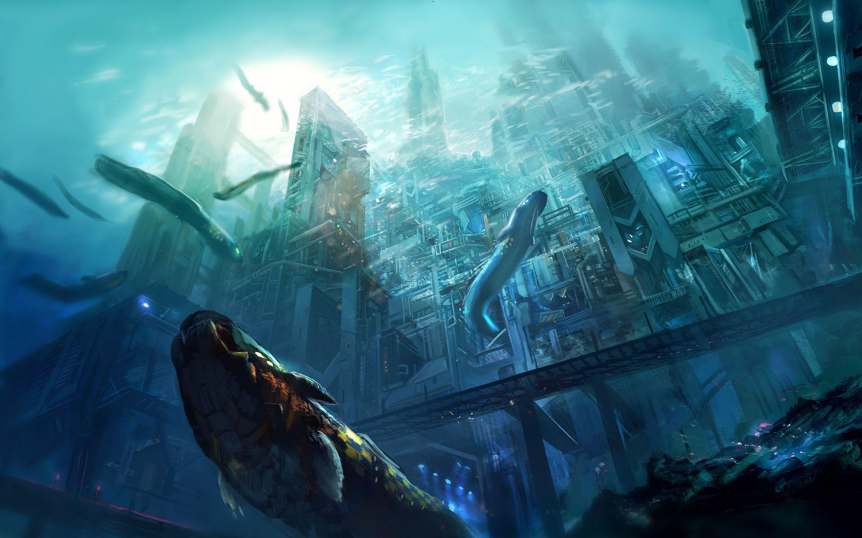 City Concept Art Fantasy Art Sea Artwork Underwater Digital Art Futuristic Wallpaper Underwater City Underwater Wallpaper Digital Art Fantasy