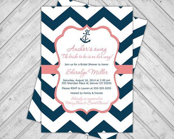Navy And C Wedding Shower Invitations Nautical Bridal Invite Chevron Invitation Anchor Printable Or Printed 658 On Etsy 15 00