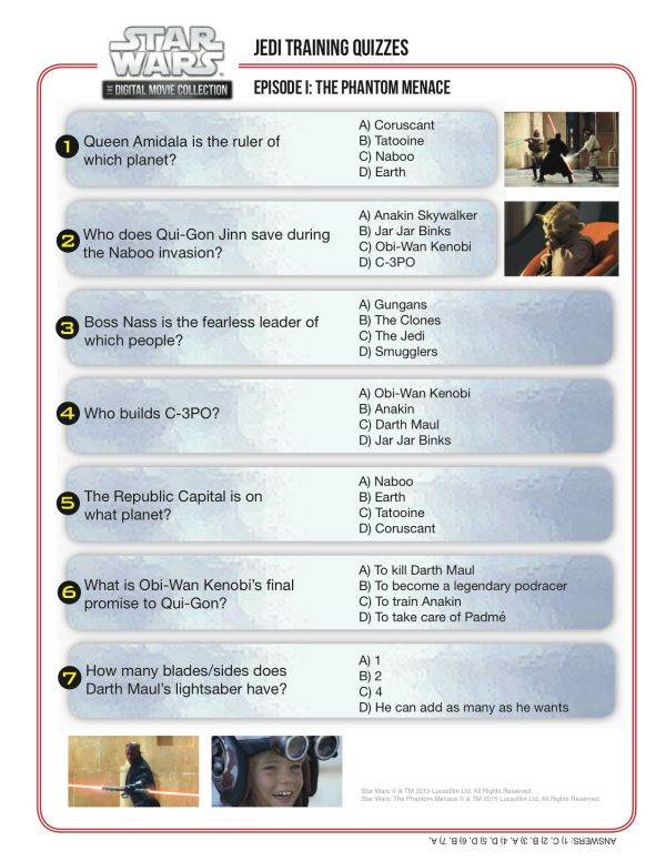 Jedi Training Quiz - Star Wars Episode I: The Phantom ...