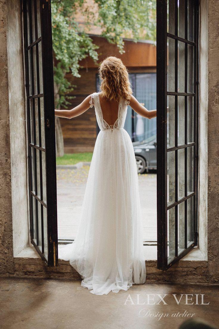 Brautkleid 'GWENDOLINE' / elegante Hochzeit Kleid, Boho Brautkleid, Boho Chic, böhmische Brautkleid, romantische offenen Rücken Brautkleid