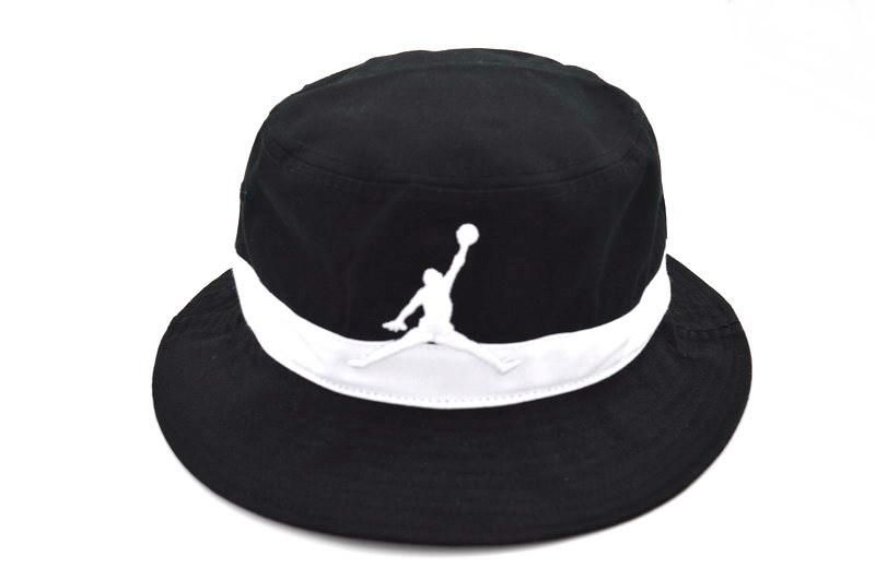 Mens Air Jordan 2016 Fashion Trend The White Jumpman Embroidered Logo Retro  Air Striped Fishing Bucket Hat - Black   White f84128929281