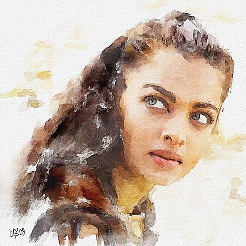 Digital Watercolor Of Aishwarya Rai By Vitaly Shchukin Art