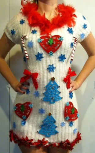 07970bb9419 Ugly Christmas Sweater Dress Bow Sz MED CANDYCANES Feathers GORGEOUS!!!!  WHITE