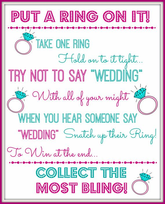 photograph regarding Put a Ring on It Bridal Shower Game Free Printable known as Pin upon bridal shower for stacy