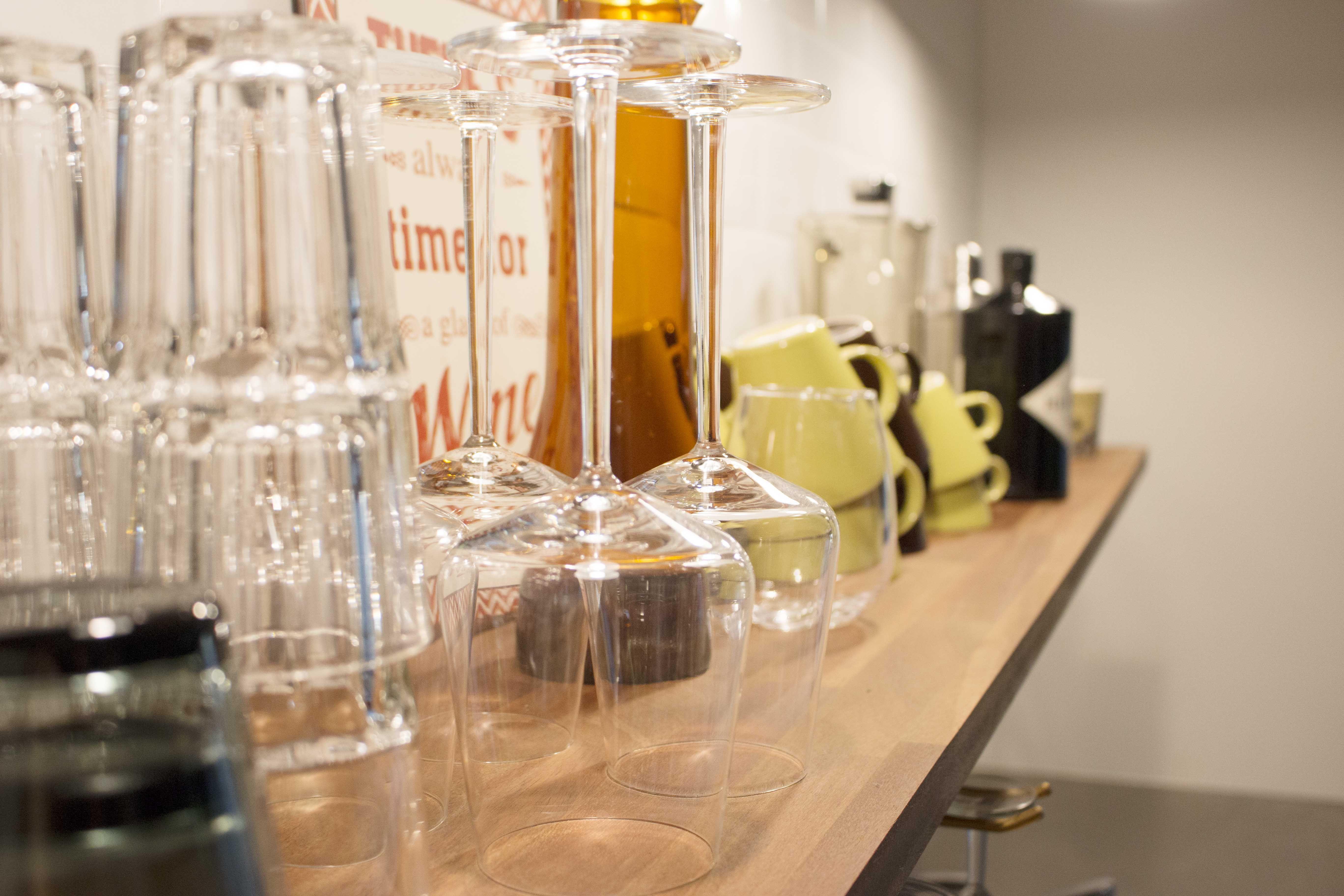 Modern kitchen with open shelf