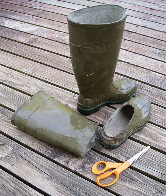 Homemade Slippers from Old Rubber Farm Boots: Don't throw those cracked rubber farm boots out yet! You can give them a second life with this money-saving tip for homemade slippers.   From MOTHER EARTH NEWS magazine