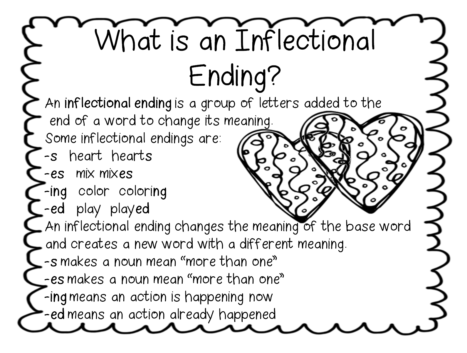 worksheet Ed Ing Worksheets 1000 images about inflection endings on pinterest long vowels inflectional and poster