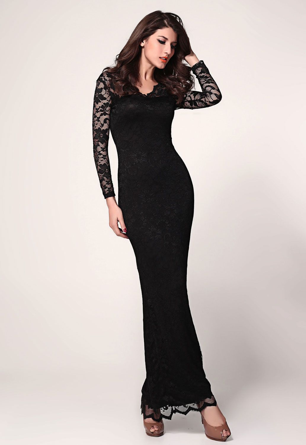 Cheap black lace long sleeves maxi dress for women under