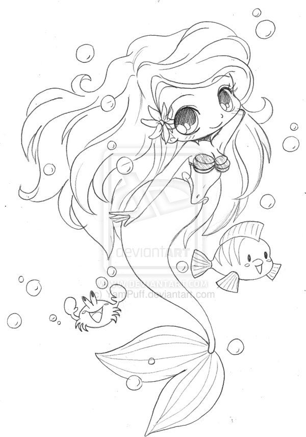 Little Mermaid Chibi By Yampuff On Deviantart Mermaid Coloring Pages Chibi Coloring Pages Cute Coloring Pages