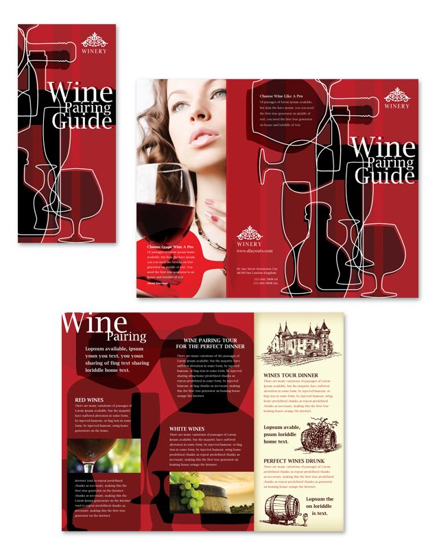 Vineyard \ Winery Tri Fold Brochure Template http\/\/wwwdlayouts - Gym Brochure Templates