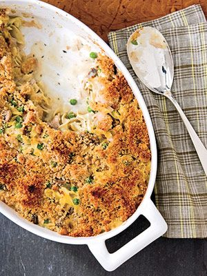 Mix leftover turkey (or chicken) with peas, mushrooms, and a creamy cheese sauce to make this main-dish casserole: http://www.recipe.com/speedy-turkey-tetrazzini/?socsrc=recpin043012turkeytetrazzini