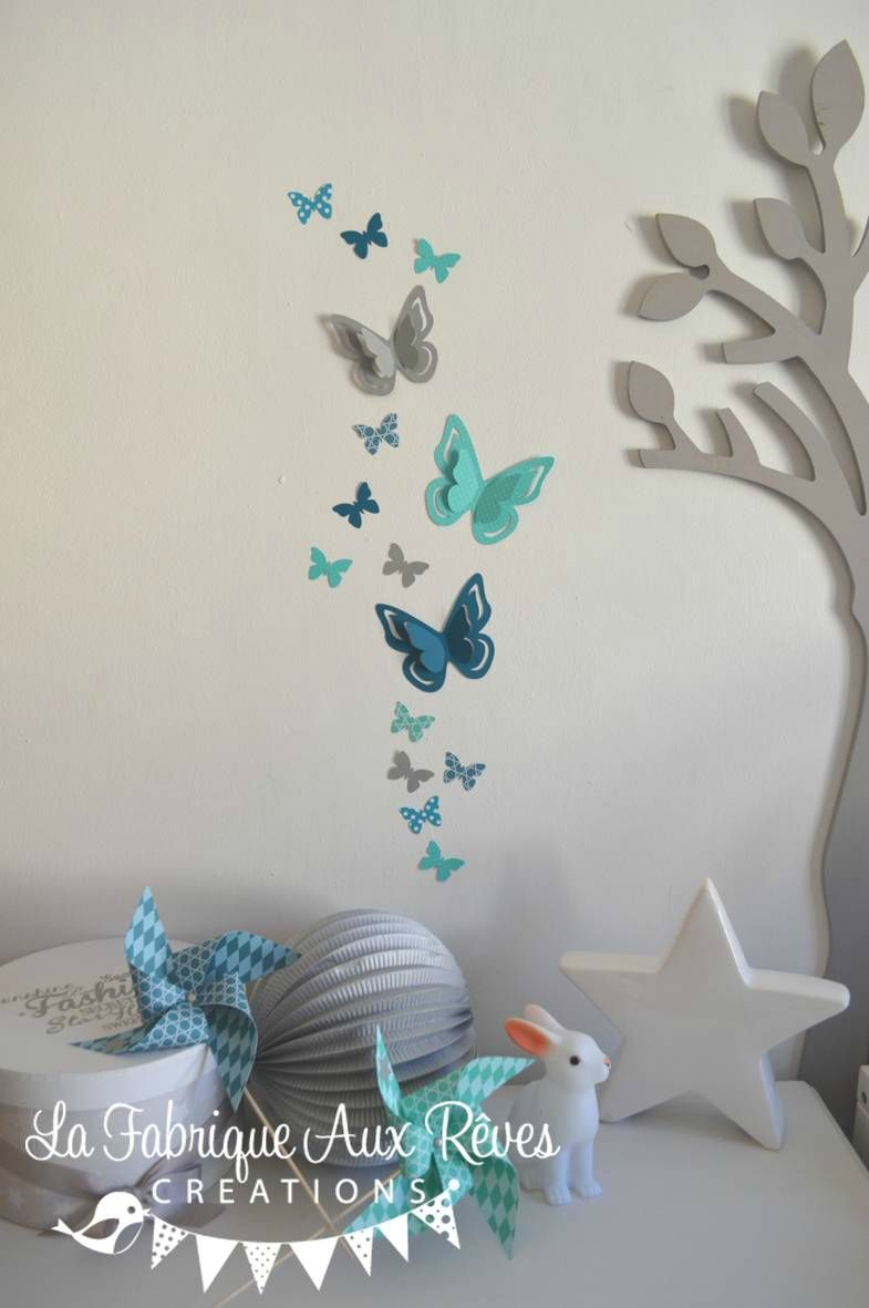 Stickers papillons gris turquoise cara be p trole blanc for Decoration canard