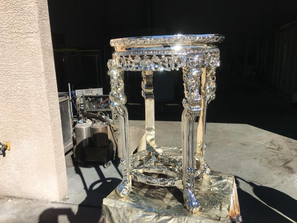 Chromed wood table  #electroplating #chrome #cars #classiccars