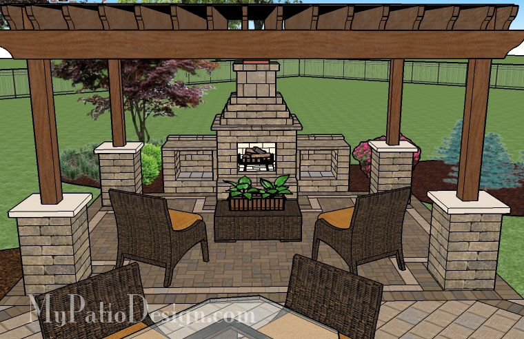 Superbe Patio With Pergola Over Fireplace Area | Patio Designs And Ideas