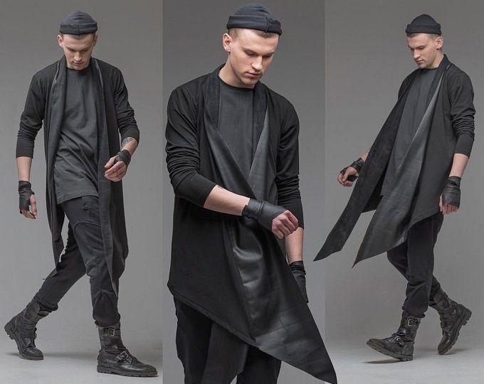 Black open front cardigan with leather trim men asymmetric